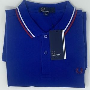 New Fred Perry polo, Regal Blue,White, Oxblood. LG